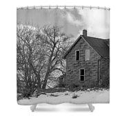 Farmhouse Black And White Shower Curtain