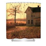 Farmhouse By Tree Shower Curtain