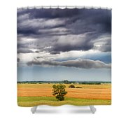 Farmhouse In The Storm Panorama Shower Curtain