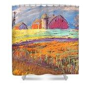 Farmland Sunset Shower Curtain