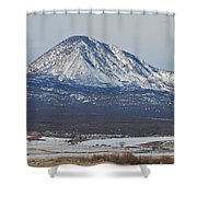 Farmland Under The Mountain Shower Curtain by Meandering Photography