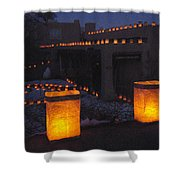 Farolitos Or Luminaria On Wall Shower Curtain