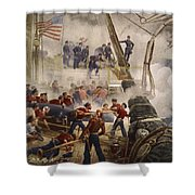 Farragut On The Hartford At Mobile Bay Shower Curtain