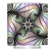 Fascinating Fractal Spirals Beautiful Metallic Colors Shower Curtain