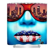 Fashionista Los Angeles Silver Shower Curtain