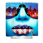 Fashionista Miami Blue Shower Curtain