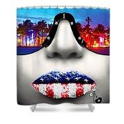 Fashionista Miami Silver Shower Curtain