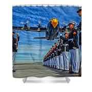 Fat Albert Over The Usmc Silent Drill Team Shower Curtain