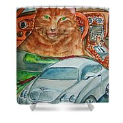 Fat Cat And The Bentley Shower Curtain