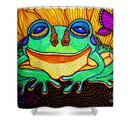 Fat Green Frog On A Sunflower Shower Curtain