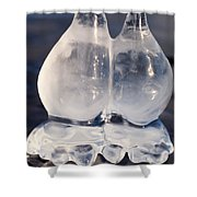 Fat Twin Icicles Over Water Surface Shower Curtain