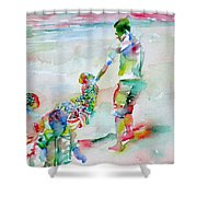 Father And Children Shower Curtain