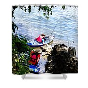 Father And Son Launching Kayaks Shower Curtain
