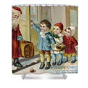 Father Christmas Disembarking Train Shower Curtain