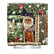 Father Christmas In The Snow Shower Curtain