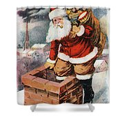 Father Christmas Popping Down The Chimney To Deliver Gifts To The Good.  Shower Curtain