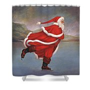 Father Christmas Skating On Duddingston Loch Shower Curtain