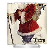 Father Christmas With A Bag Of Toys Shower Curtain