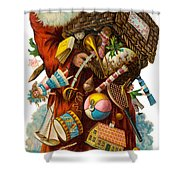 Father Christmas With Presents Shower Curtain