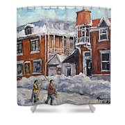 Faubourg A Melasse Montreal - Joys Of Winter By Prankearts Shower Curtain