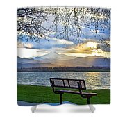 Favorite Bench And Lake View Shower Curtain