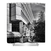 Fbi Building Modern Fortress Shower Curtain