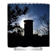 Fct1 Fire Control Tower 1 In Silhouette Shower Curtain
