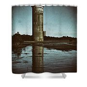 Fct3 Fire Control Tower Reflections In Sepia Shower Curtain