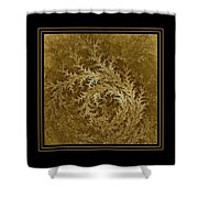 Fear Of The Forest-2 Framed Black And Gold Shower Curtain