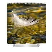 Feather On Golden Water Shower Curtain