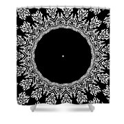 Feathers And Circles Kaleidoscope In Black And White Shower Curtain