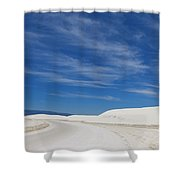 Feathery Clouds Over White Sands Shower Curtain