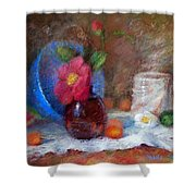 Featured Blue Bowl   Shower Curtain by Nancy Stutes