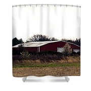 February's Red Barn Shower Curtain
