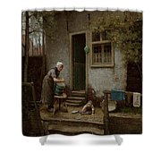 Feeding The Ducks Shower Curtain by Bernardus Johannes Blommers or Bloomers