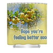 Feel Better Soon Greeting Card - Barberry Blossoms Shower Curtain