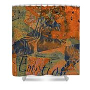 Feel Emotion Orange And Green Shower Curtain