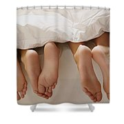 Feet In Bed Shower Curtain