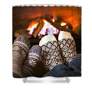 Feet Warming By Fireplace Shower Curtain