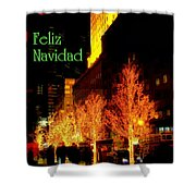 Feliz Navidad - Merry Christmas In New York - Trees And Star Holiday And Christmas Card Shower Curtain