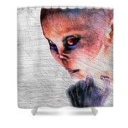 Female Alien Portrait Shower Curtain