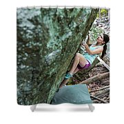 Female Athlete Climbing On Boulder Shower Curtain
