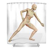 Female Body In Dynamic Posture Shower Curtain