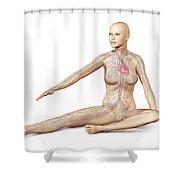Female Body Sitting In Dynamic Posture Shower Curtain