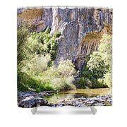 Female Climber, On A Beautiful Route Shower Curtain