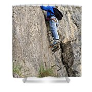 female climber on Via Ferrata Shower Curtain