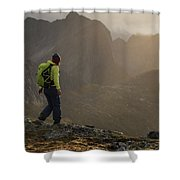 Female Hiker On Summit Of Tverrfjellet Shower Curtain