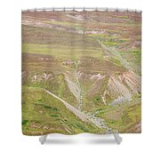 Female Hiker Standing With A Backpack Shower Curtain