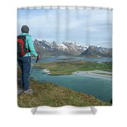 Female Hiker With Over Yttersand Beach Shower Curtain