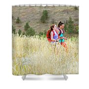 Female Hikers Walk On A Trail Shower Curtain